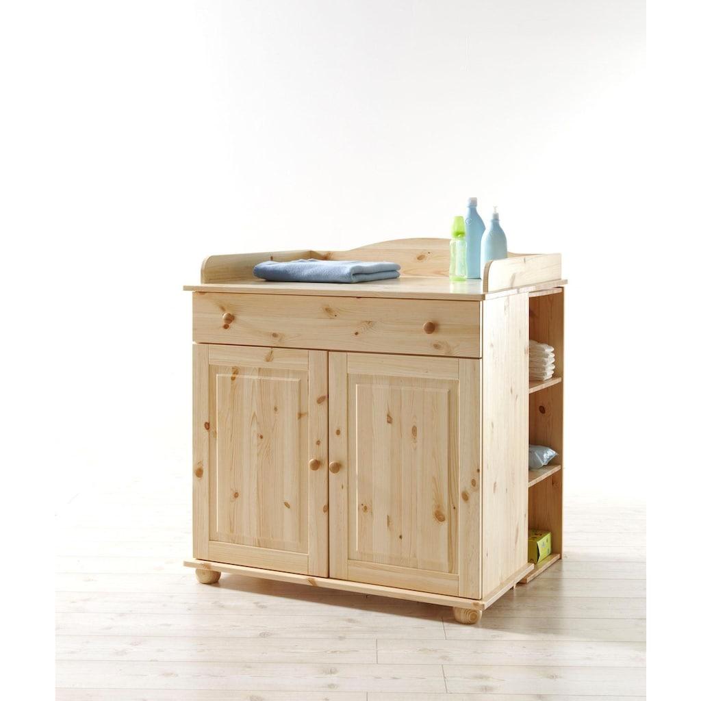 Ticaa Babyzimmer-Komplettset »Adam«, (Set, 5 St.), Bett + Wickelkommode + Schrank + Unterstellregal + Standregal