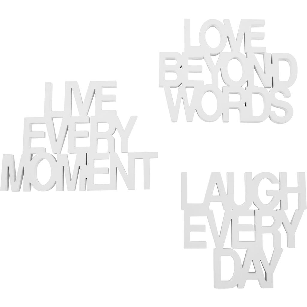 andas Wanddekoobjekt »Schriftzug Live every Moment - Love beyond Words - Laugh every Day«, Wanddeko