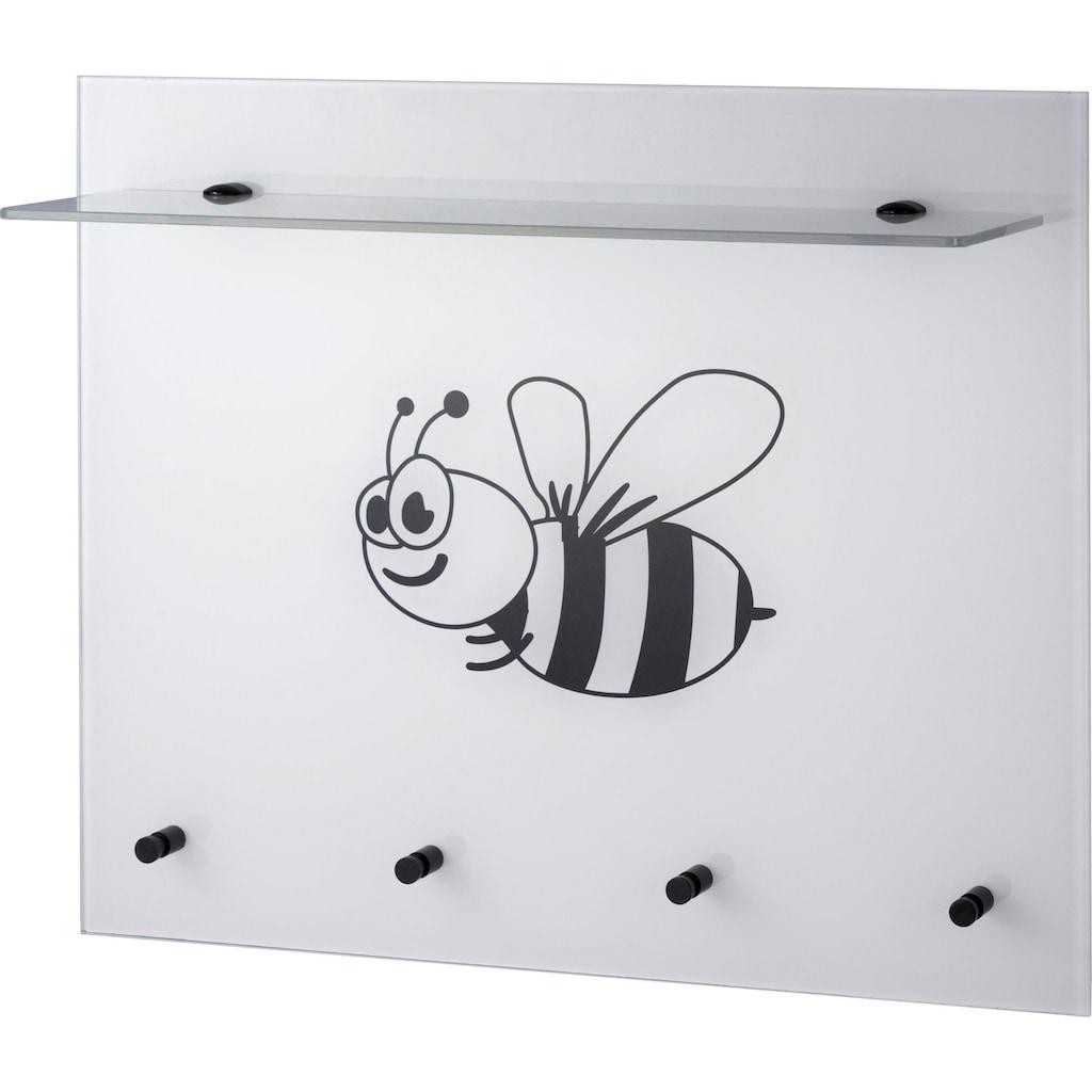 GGG MÖBEL Garderobenpaneel »Biene«, aus Glas mit Ablage