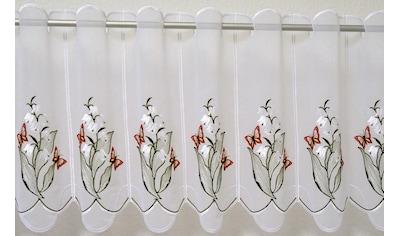 Scheibengardine, »Maiglöckchen«, Stickereien Plauen, Durchzuglöcher 1 Stück kaufen