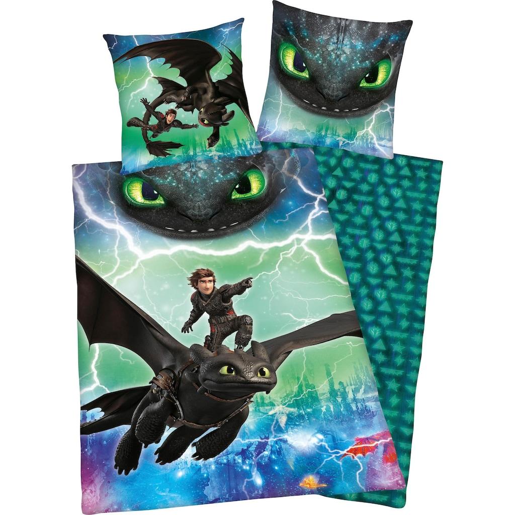 Kinderbettwäsche »Dragons Abenteuer«, mit Glow in the Dark Effekt