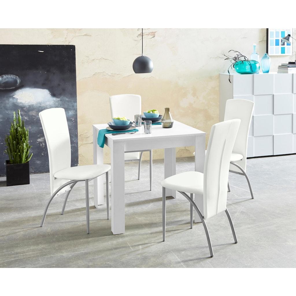 my home Essgruppe, (Set, 5 tlg.), Tischbreite 80 cm in weiß mit Struktur