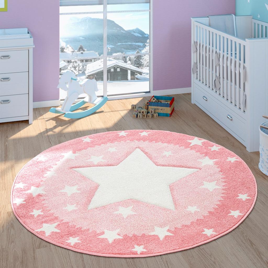 Paco Home Kinderteppich »Ela 398«, rund, 17 mm Höhe, Stern Motiv, Konturenschnitt, mit Bordüre, Kinderzimmer