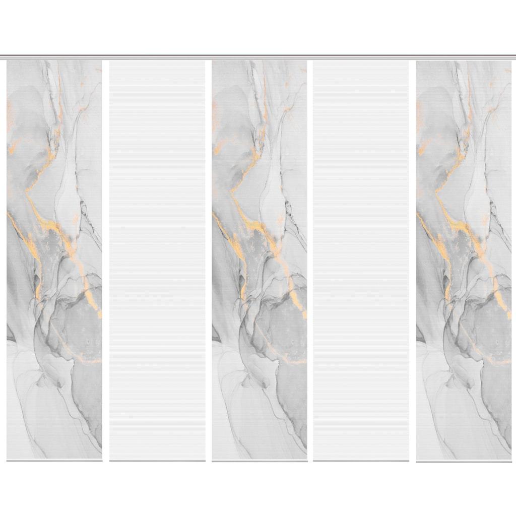 Vision Schiebegardine »MARMOSA 5er SET«, Bambus-Optik, Digital bedruckt