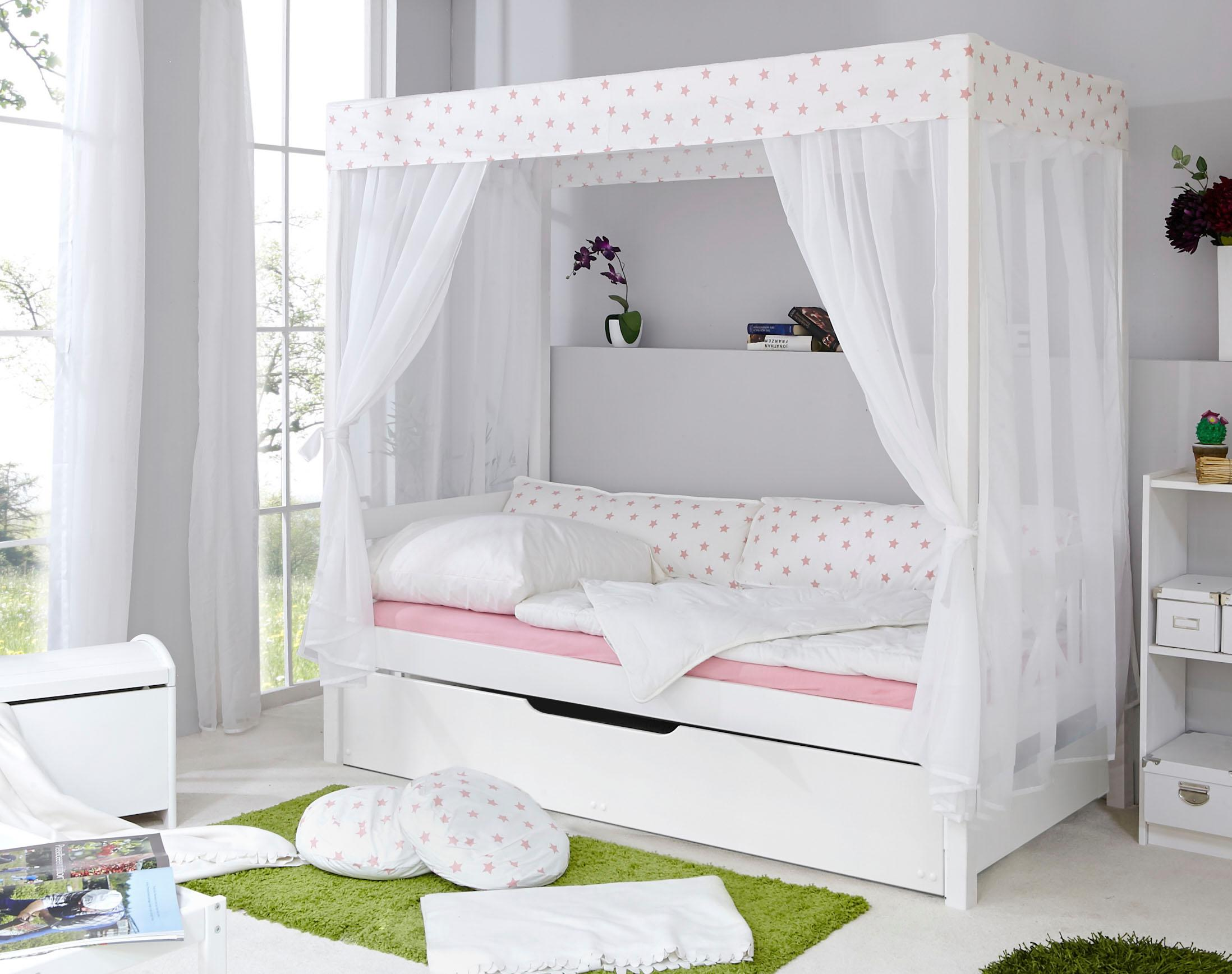 Ticaa Einzel-/Himmelbett Lino mit Bettschubkasten Marianne | Schlafzimmer > Betten > Himmelbetten | Weiß | Ticaa