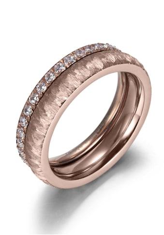 Firetti Ring - Set »2,0 mm, 4,0 mm, Glanzoptik, matt, gekratzt, strukturiert, IP - beschichtet« (Set, 2 tlg.) kaufen