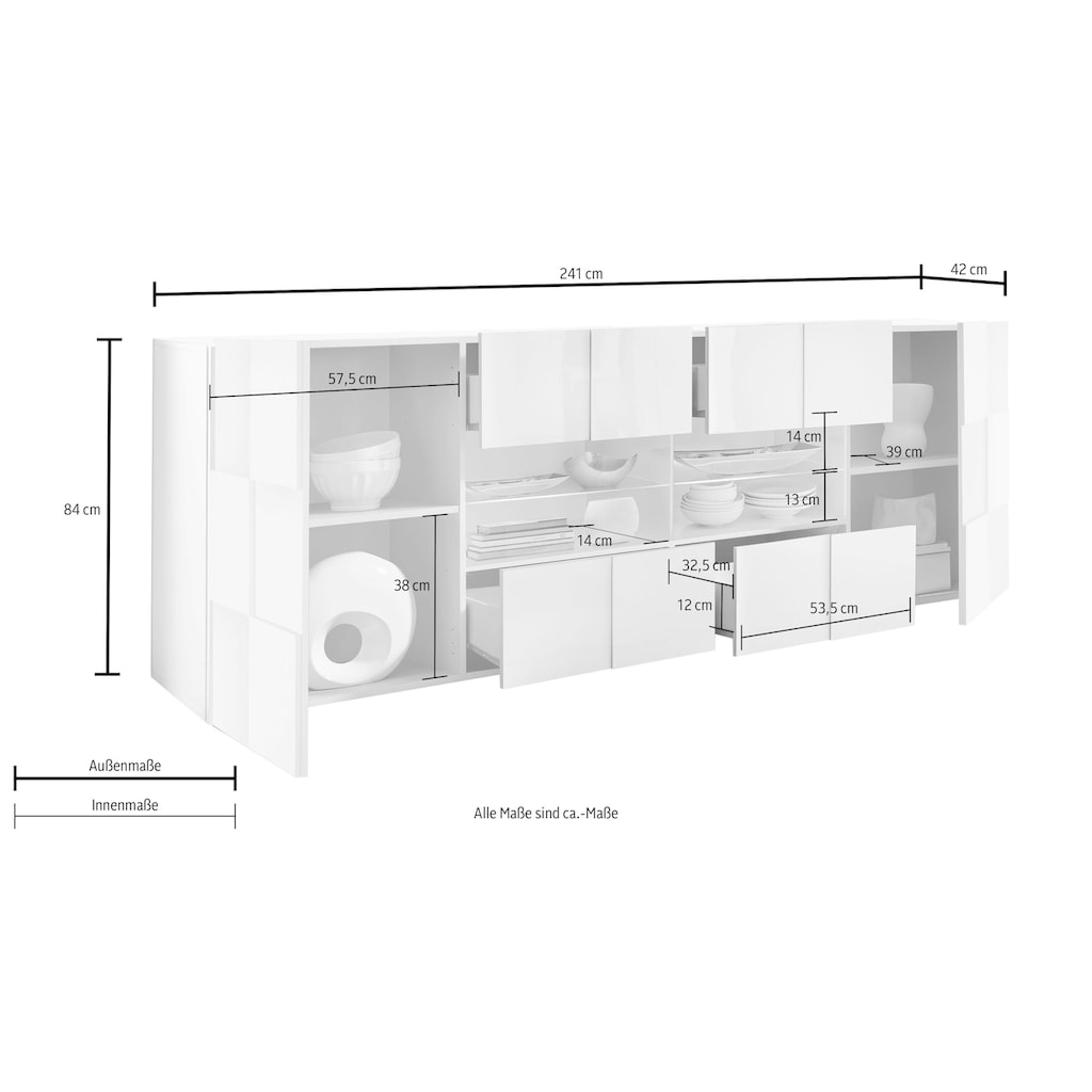 LC Sideboard »Dama«, Breite 241 cm
