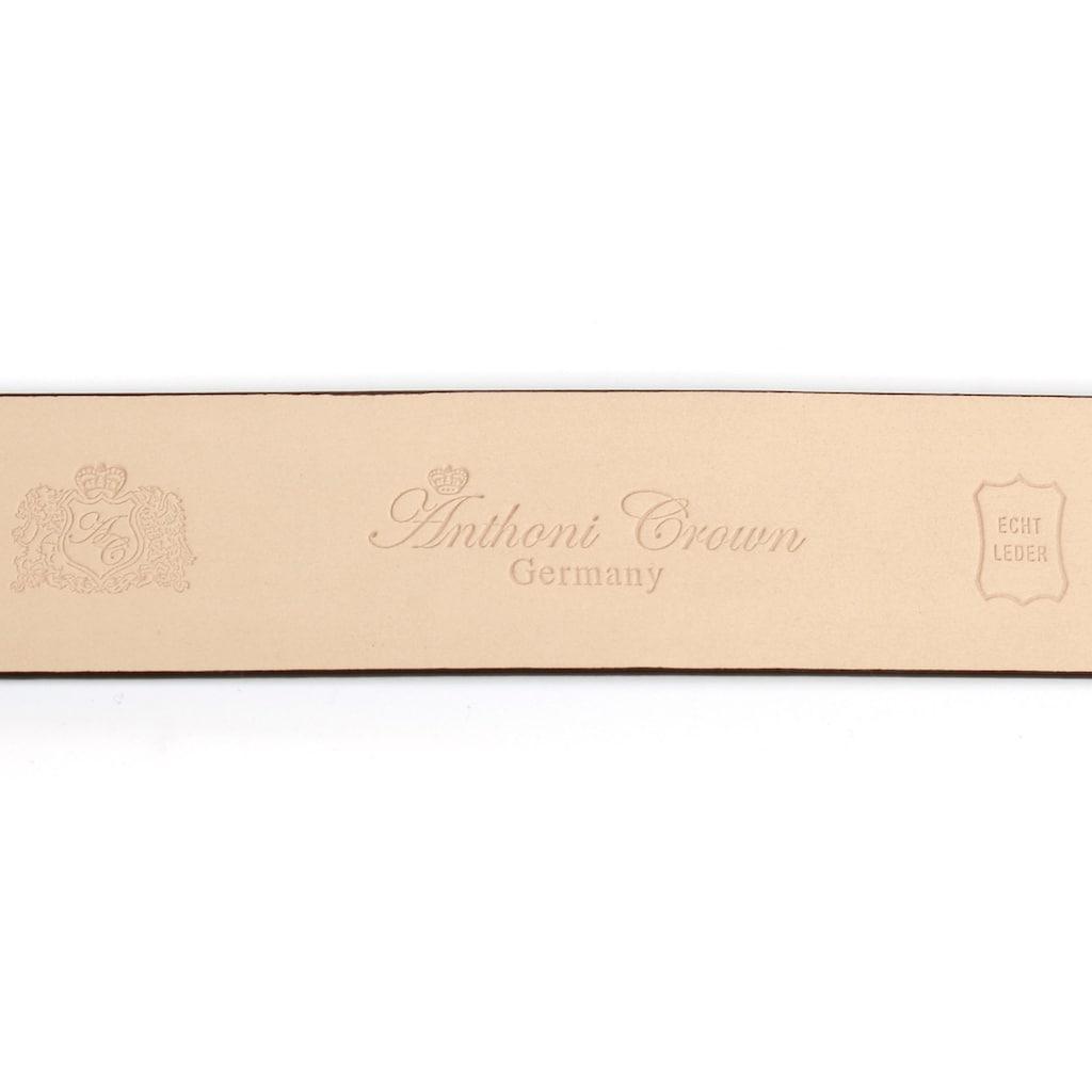 Anthoni Crown Ledergürtel, mit goldfarbener Automatik Schließe, Metallschlaufe