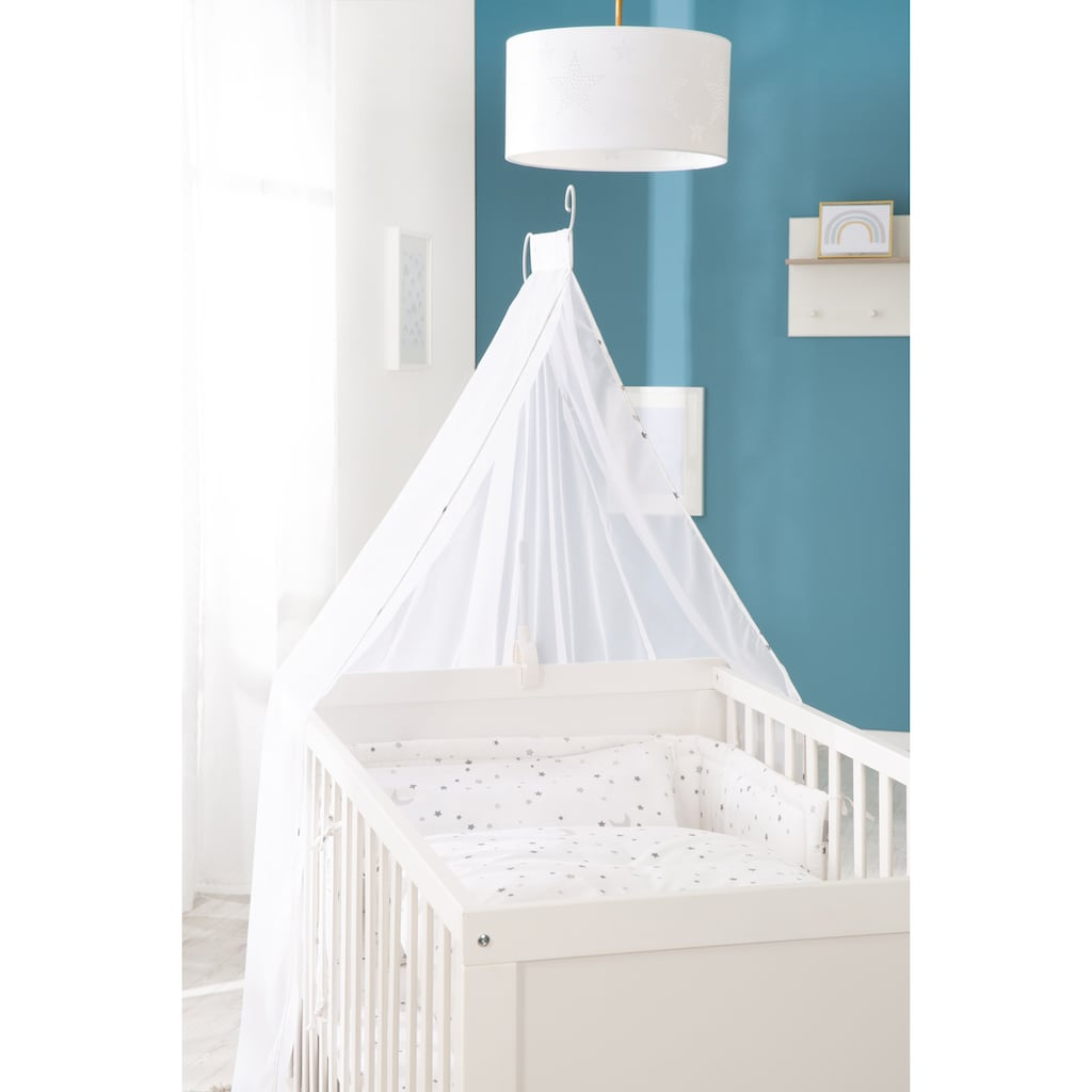 roba® Komplettbett »Sternenzauber, weiß«, inkl. Babybett, Matratze, Lattenrost, Himmelstange mit Himmel, Nestchen und Bettwäsche