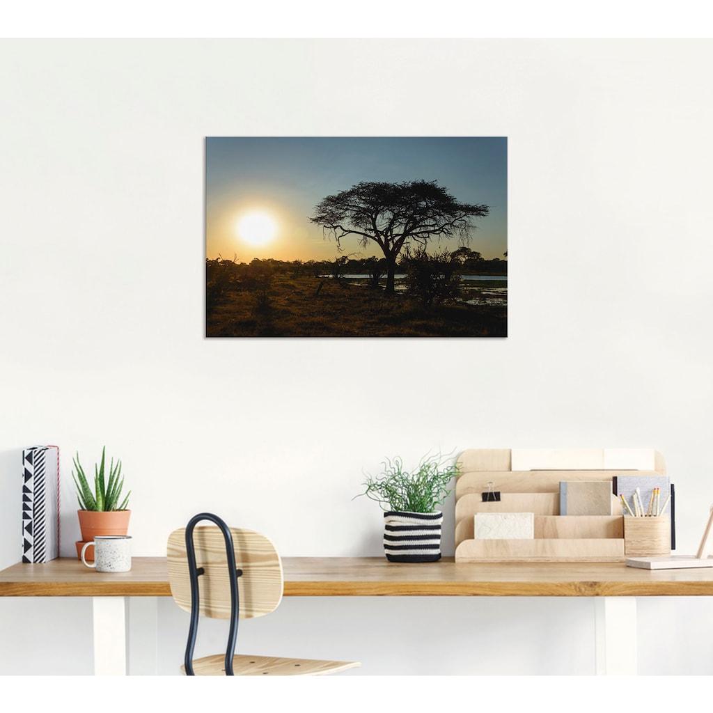 Artland Wandbild »Sonnenuntergang I«, Afrika, (1 St.), in vielen Größen & Produktarten - Alubild / Outdoorbild für den Außenbereich, Leinwandbild, Poster, Wandaufkleber / Wandtattoo auch für Badezimmer geeignet