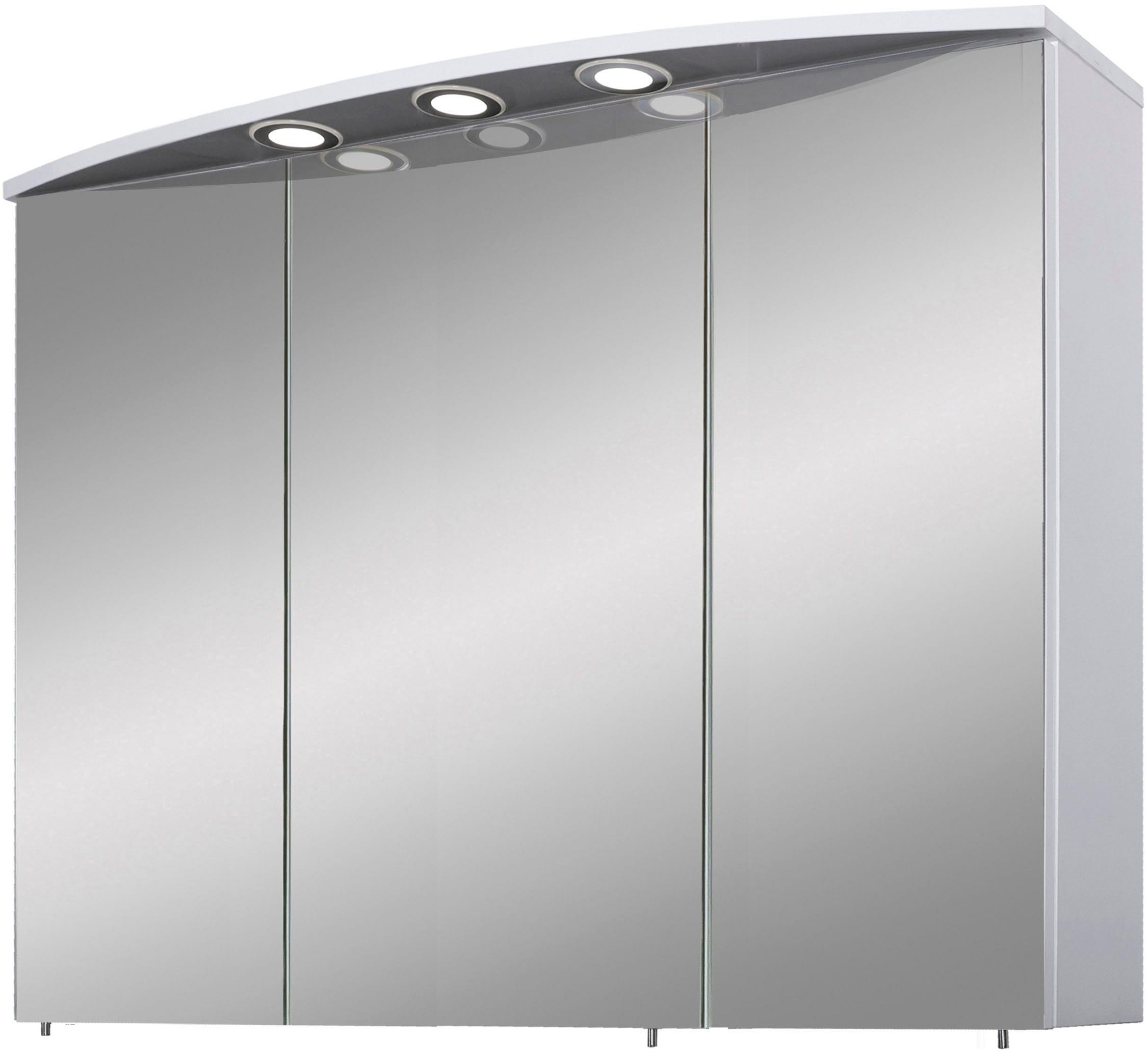 Schildmeyer Spiegelschrank Verona, Breite 120 cm, 3-türig, 3 LED-Einbaustrahler, Schalter-/Steckdosenbox, Glaseinlegeböden, Made in Germany