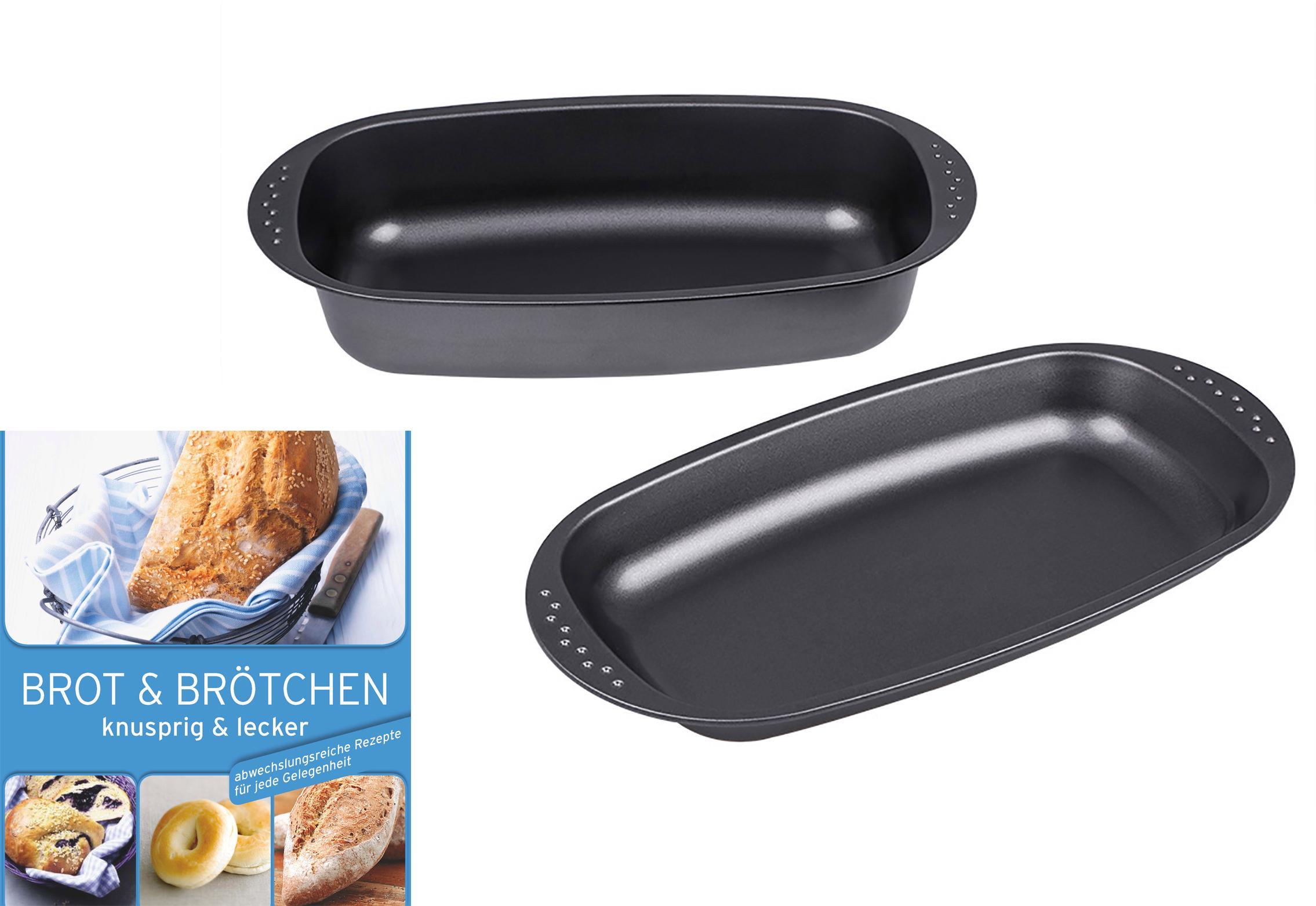 CHG Brotbackform, (Set), Stahlblech, mit Deckel, Inkl. Backbuch schwarz Brotbackform Backformen Backbleche Kochen Backen Haushaltswaren
