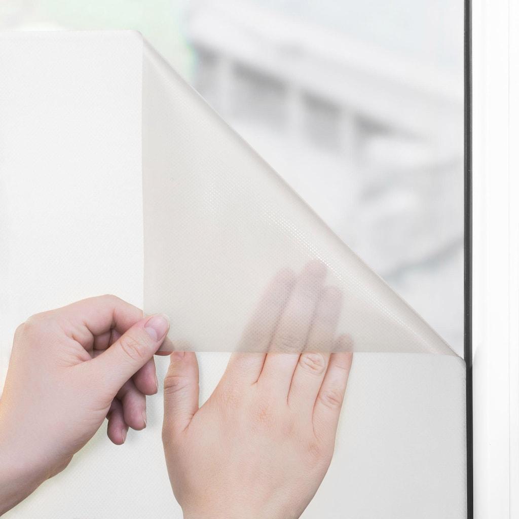 LICHTBLICK ORIGINAL Fensterfolie »Palmen mit Spruch«, 1 St., blickdicht, strukturiertKlebepunkte, selbstklebend, Sichtschutz