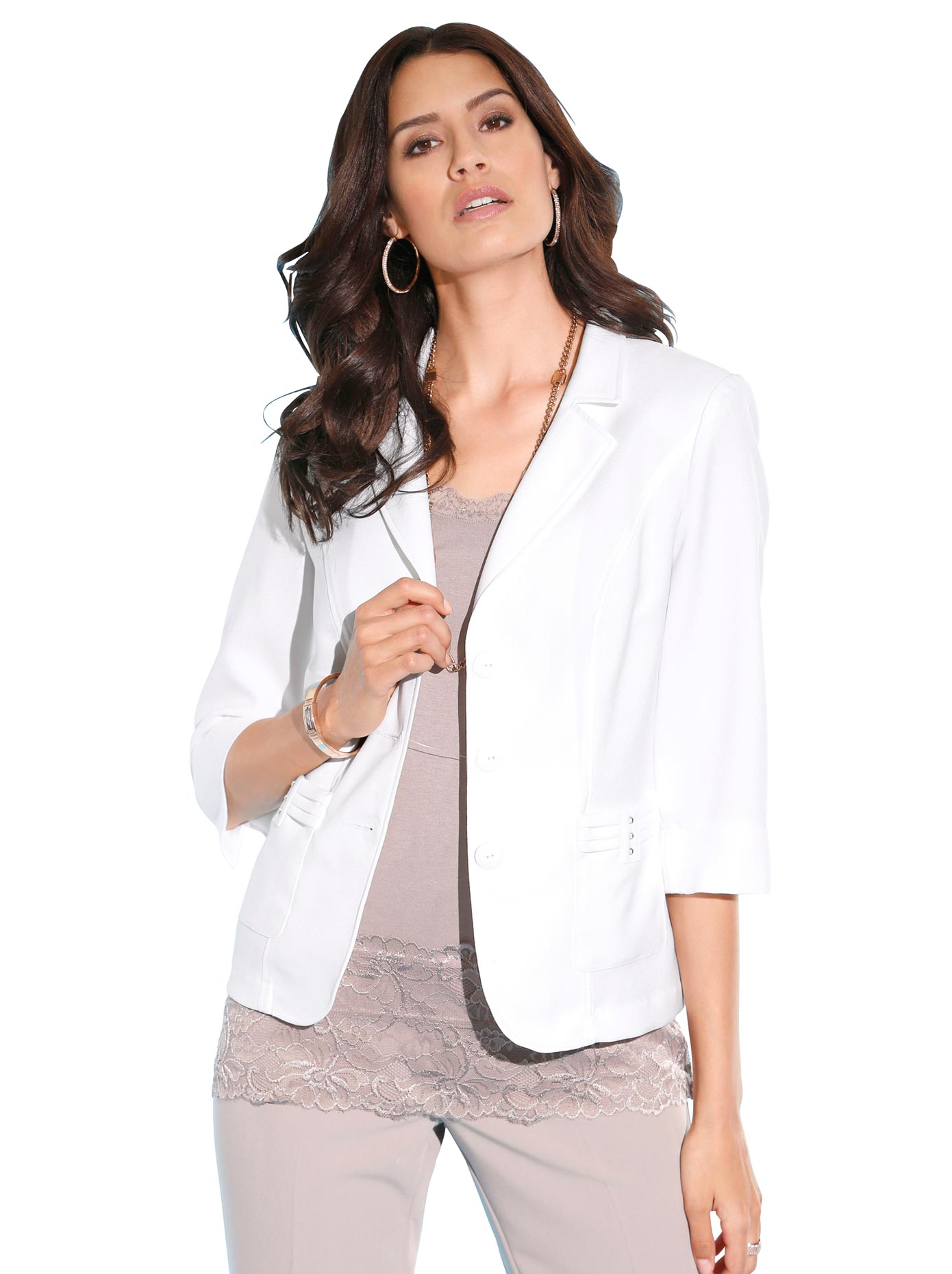 Lady Blusenblazer mit geschliffenen Schmuck-Knöpfen | Bekleidung > Blazer > Blusenblazer | Weiß | Lady