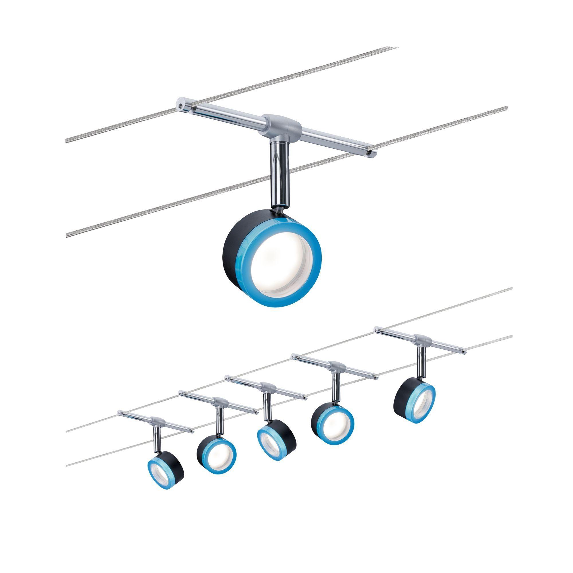 Paulmann LED Deckenleuchte Seilsystem BlueLED 5x4W Schwarz/Blau/Chrom, 1 St., Warmweiß