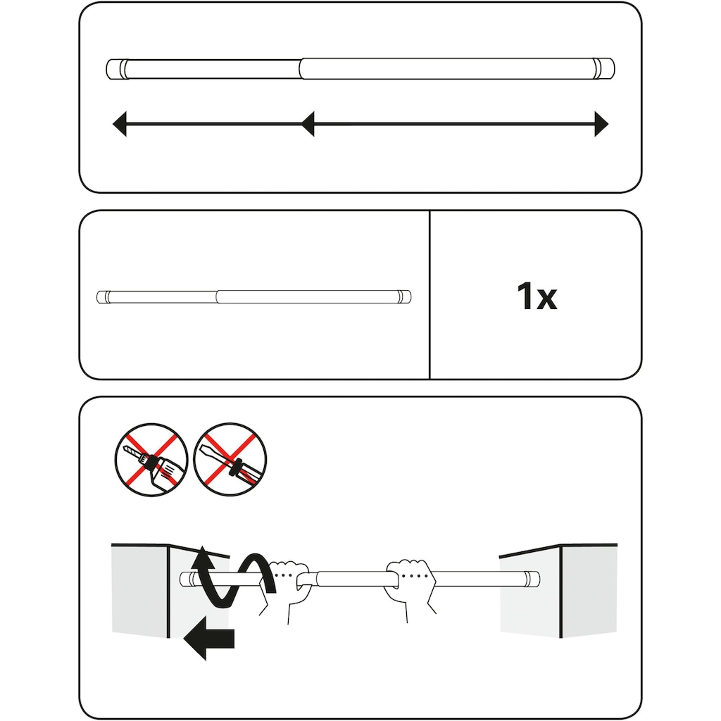 GARDINIA Scheibenstange »Garderobenstange/Spannstange Ø 23/26 mm«, ausdrehbar