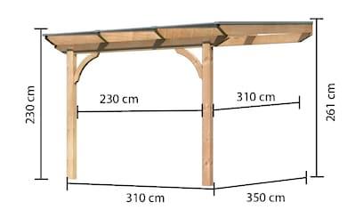 KARIBU Terrassendach »Premium Gr. A«, Breite 310 cm, verschiedene Tiefen, geschwungene Kopfbänder kaufen