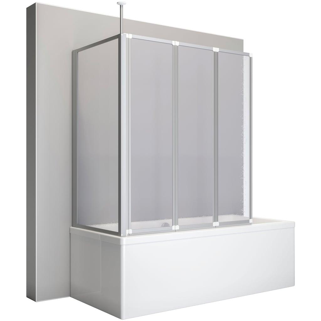 Schulte Badewannenaufsatz, BxHxT: 128,8x140x75 cm, mit Teleskopstange und Seitenwand