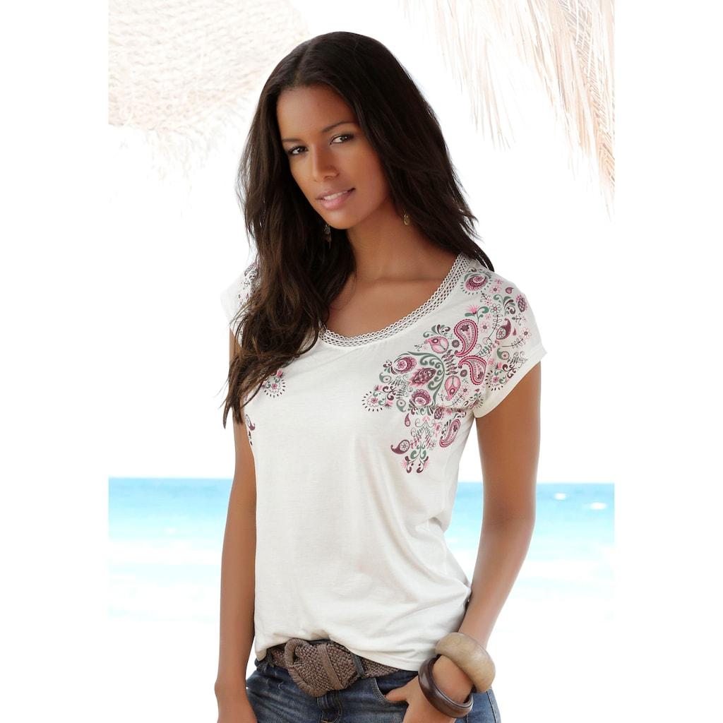 Beachtime T-Shirt, mit zarter Spitze am Ausschnitt