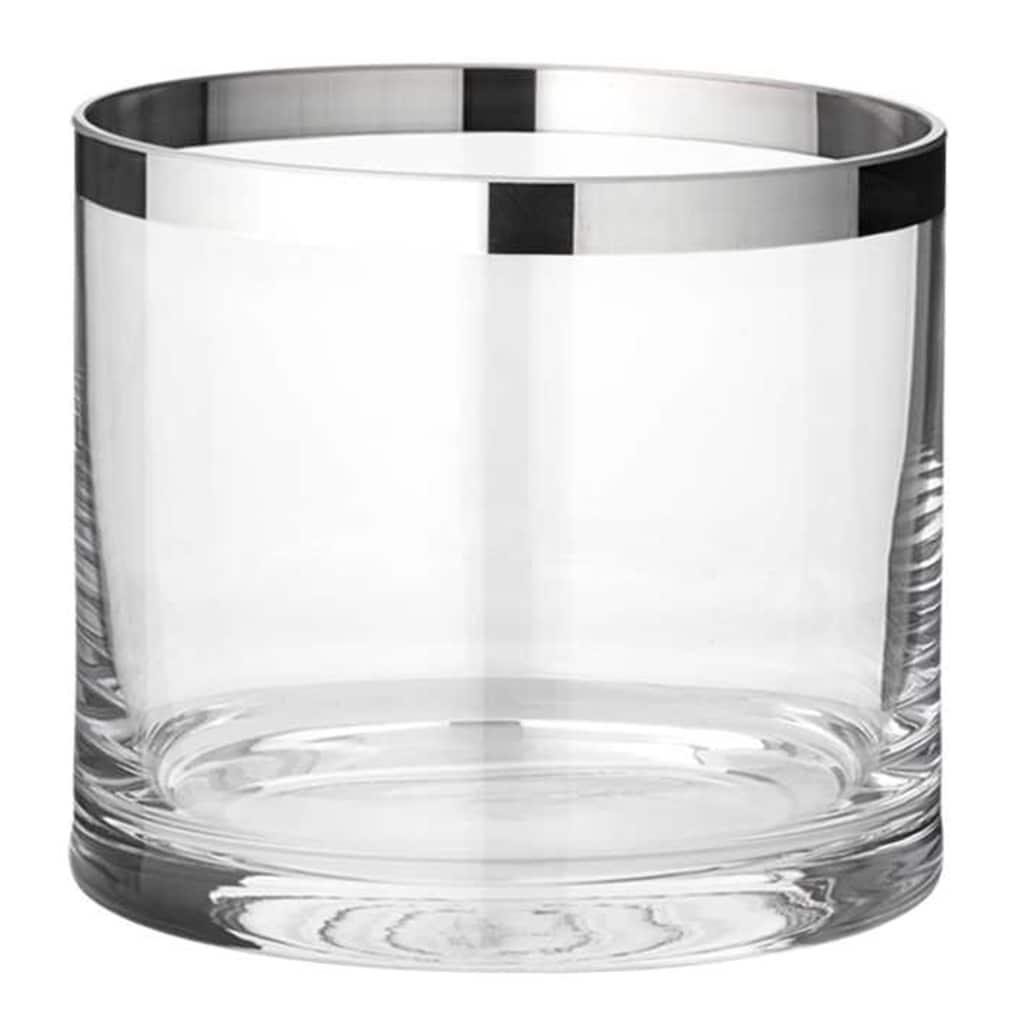 EDZARD Windlicht »Molly«, Laterne aus Kristallglas mit Platinrand, Kerzenhalter für Stumpenherzen, Höhe 10 cm, Ø 11,5 cm