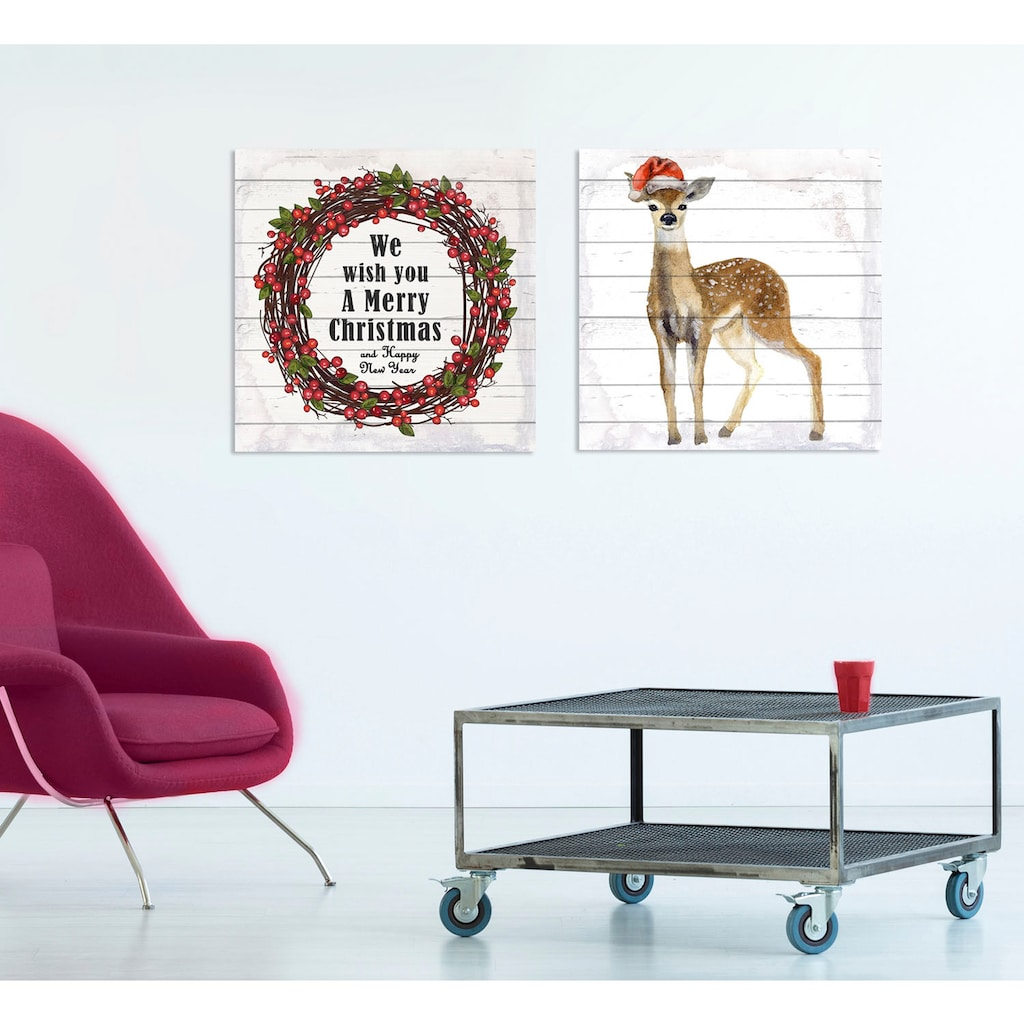 queence Holzbild »Rentier«, Weihnachten, (1 St.)