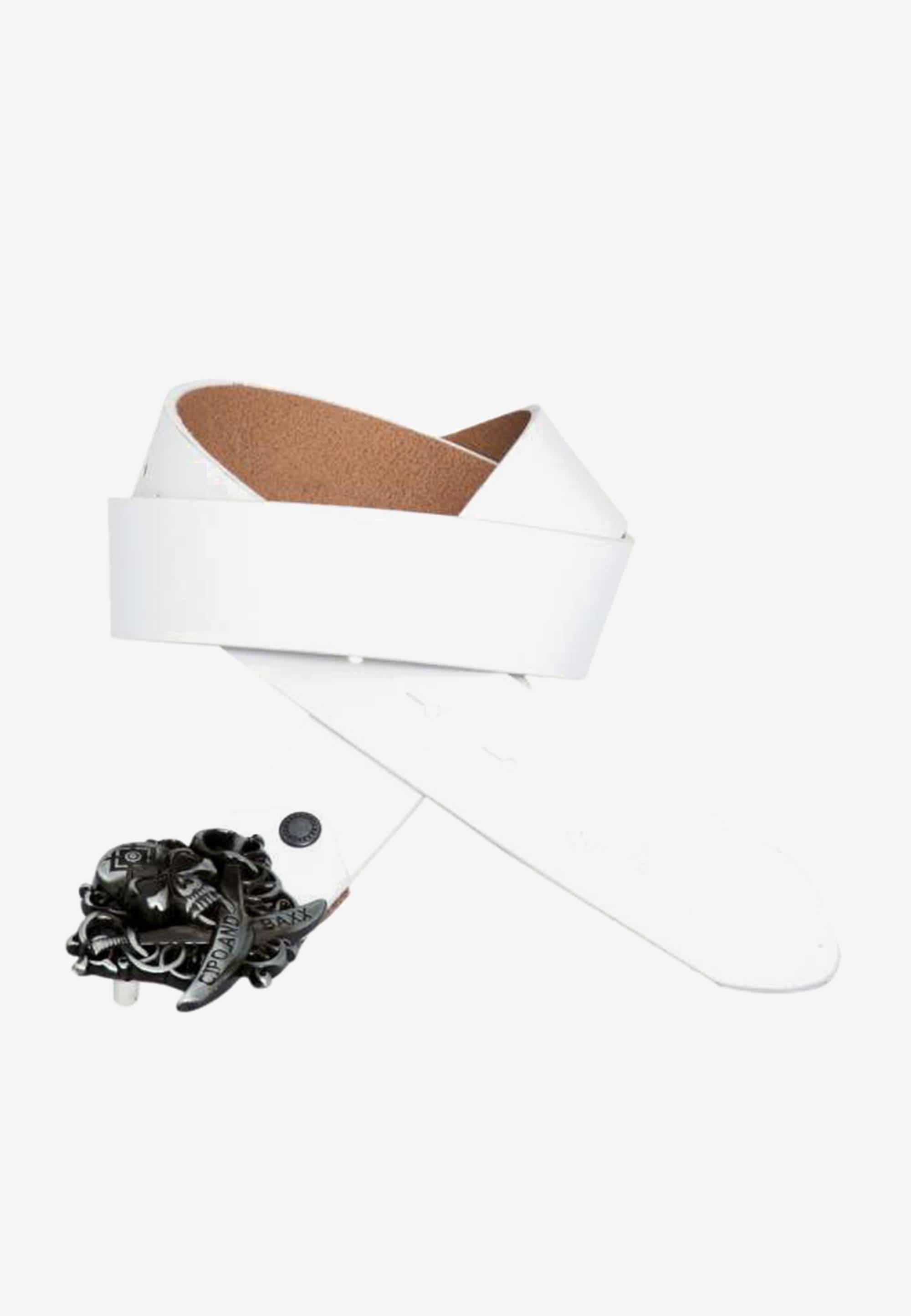 Cipo & Baxx Ledergürtel, mit cooler Totenkopfschnalle weiß Damen Ledergürtel Gürtel Accessoires 8698819198296