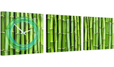 Conni Oberkircher´s Bild »Green Bamboo II«, Natur, (Set), mit dekorativer Uhr kaufen