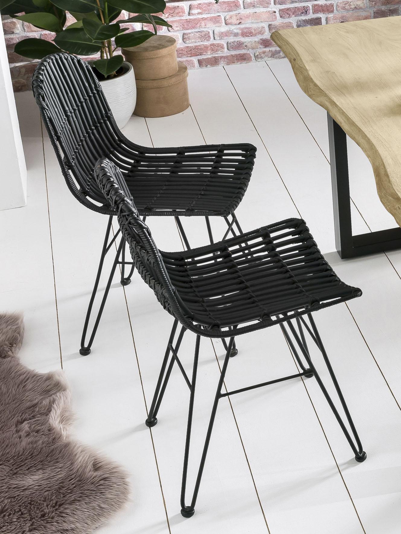 SIT Rattanstuhl Rattan Vintage, Shabby Chic, Vintage schwarz 4-Fuß-Stühle Stühle Sitzbänke