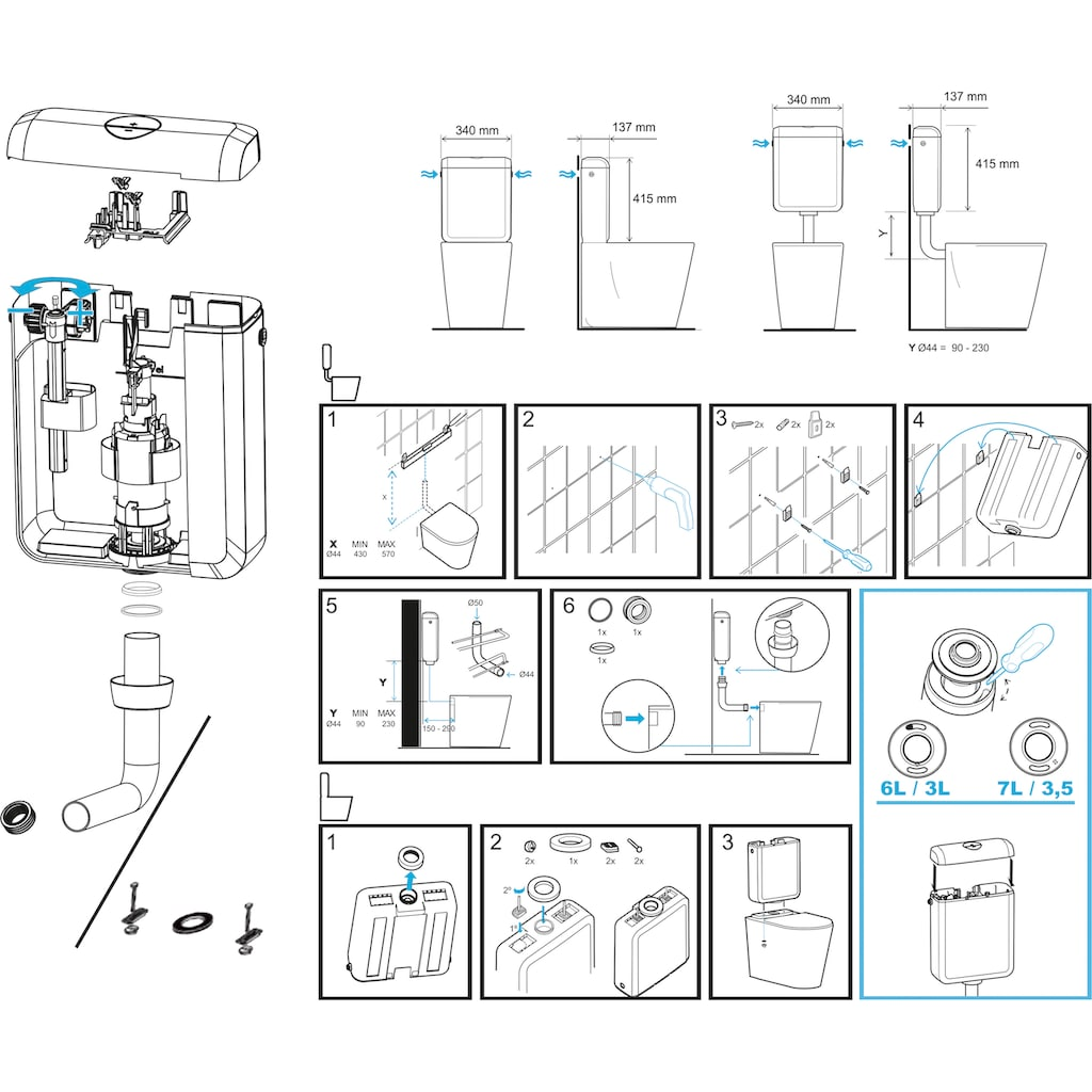 CORNAT Spülkasten »LEDA NEW«, mit 3 Anschlussmöglichkeiten