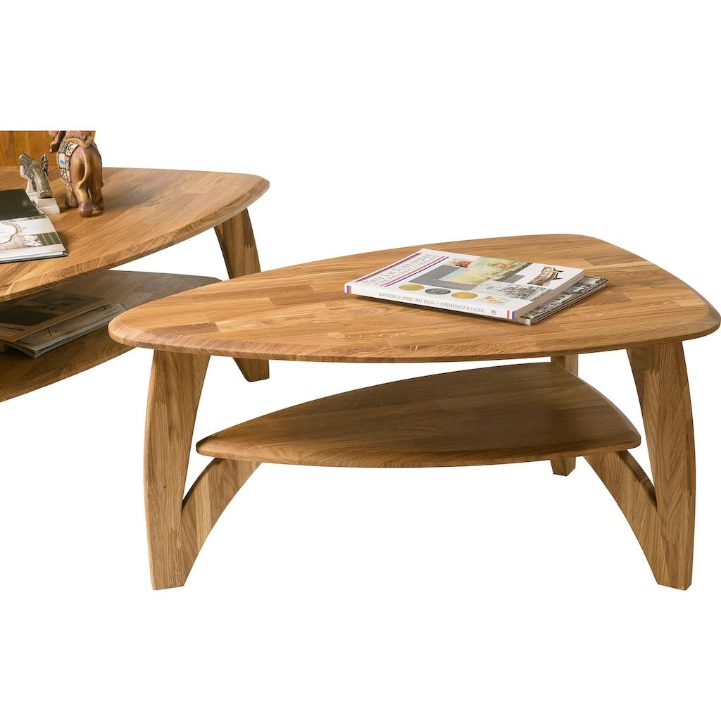 Home affaire Couchtisch »Oja«, in ovaler Form, aus massivem Eichenholz, Breite 90 cm