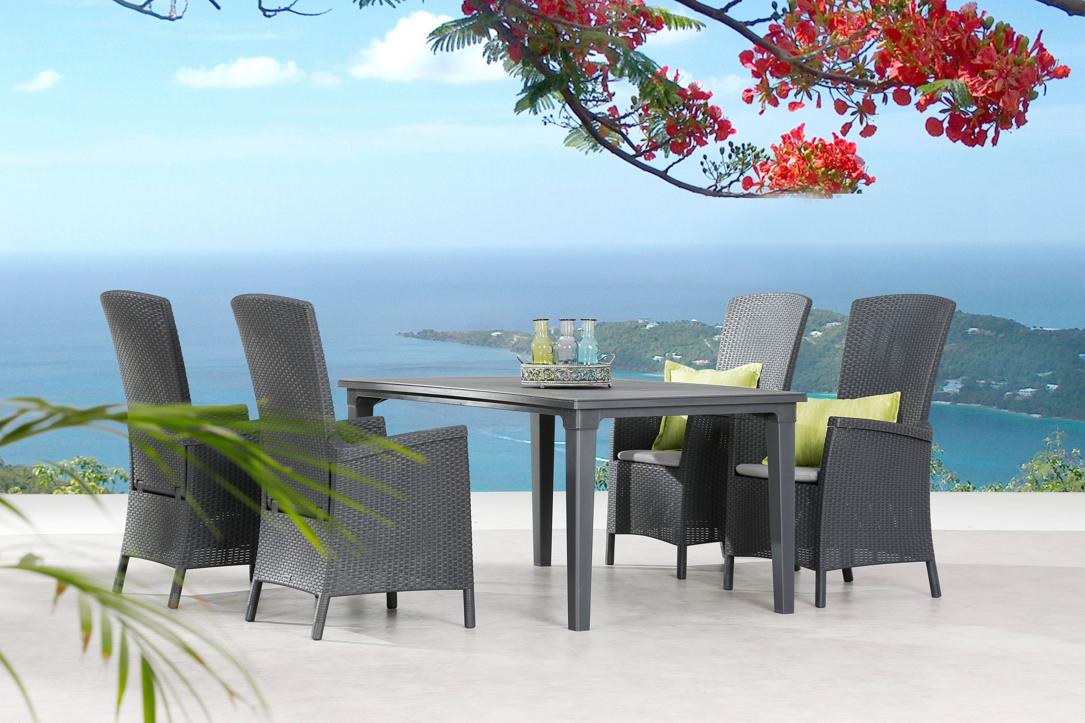 BEST Gartenmöbelset Capri 5-tlg 4 Sessel Tisch 165x94 cm inkl Sitzkissen