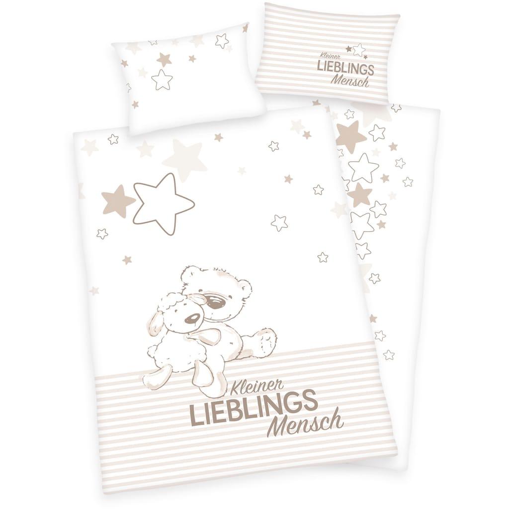 Baby Best Babybettwäsche »Kleiner Lieblingsmensch«, mit niedlichem Teddy-Motiv und Schriftzug