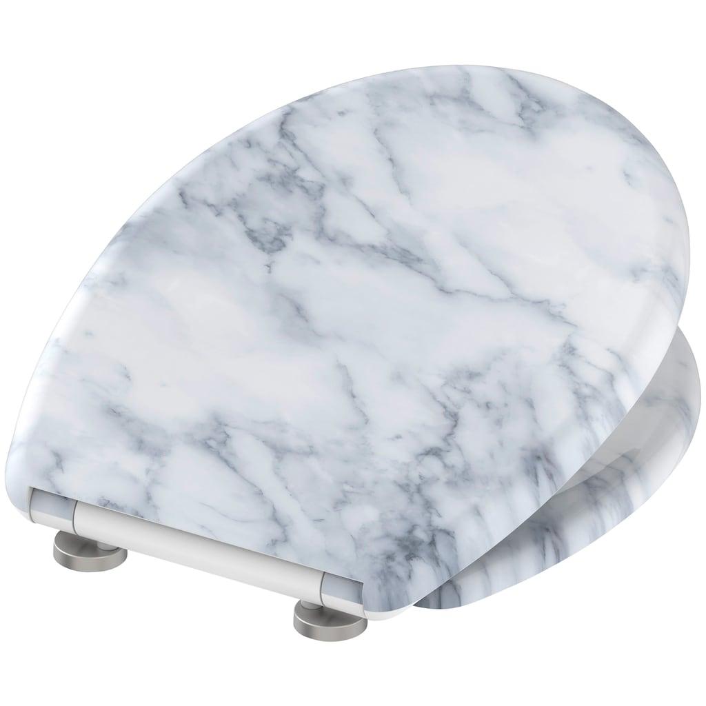 welltime WC-Sitz »Marble«, hochwertiger abnehmbarer Premium-Toilettendeckel mit Absenkautomatik, Bruchsicher und kratzfest, mit Schnellverschluss, geeignet für alle handelsüblichen WC's, Motiv Marmor weiß