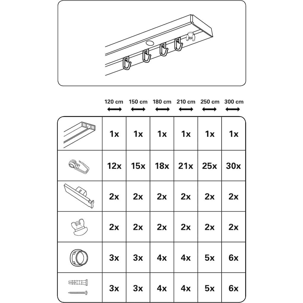 GARDINIA Gardinenschiene »Vorhangschienen Set GE1«, 1 läufig-läufig, Fixmaß