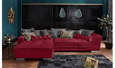 Leonique Ecksofa »Diwan Luxus«, mit besonders hochwertiger Polsterung für bis zu 140 kg pro Sitzfläche, mit vielen losen Kissen und Faltenwurf kaufen