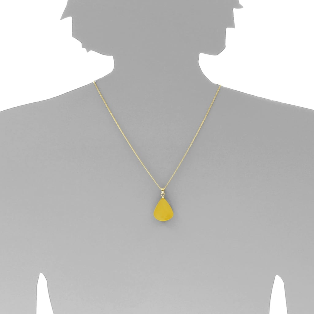 OSTSEE-SCHMUCK Kettenanhänger »- Tropfen flach, ca. 22 mm lang - Silber 925/000 vergoldet - Ber«, (1 tlg.)