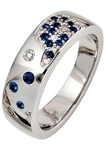 JOBO Diamantring, 585 Weißgold mit Safir und 13 Diamanten kaufen