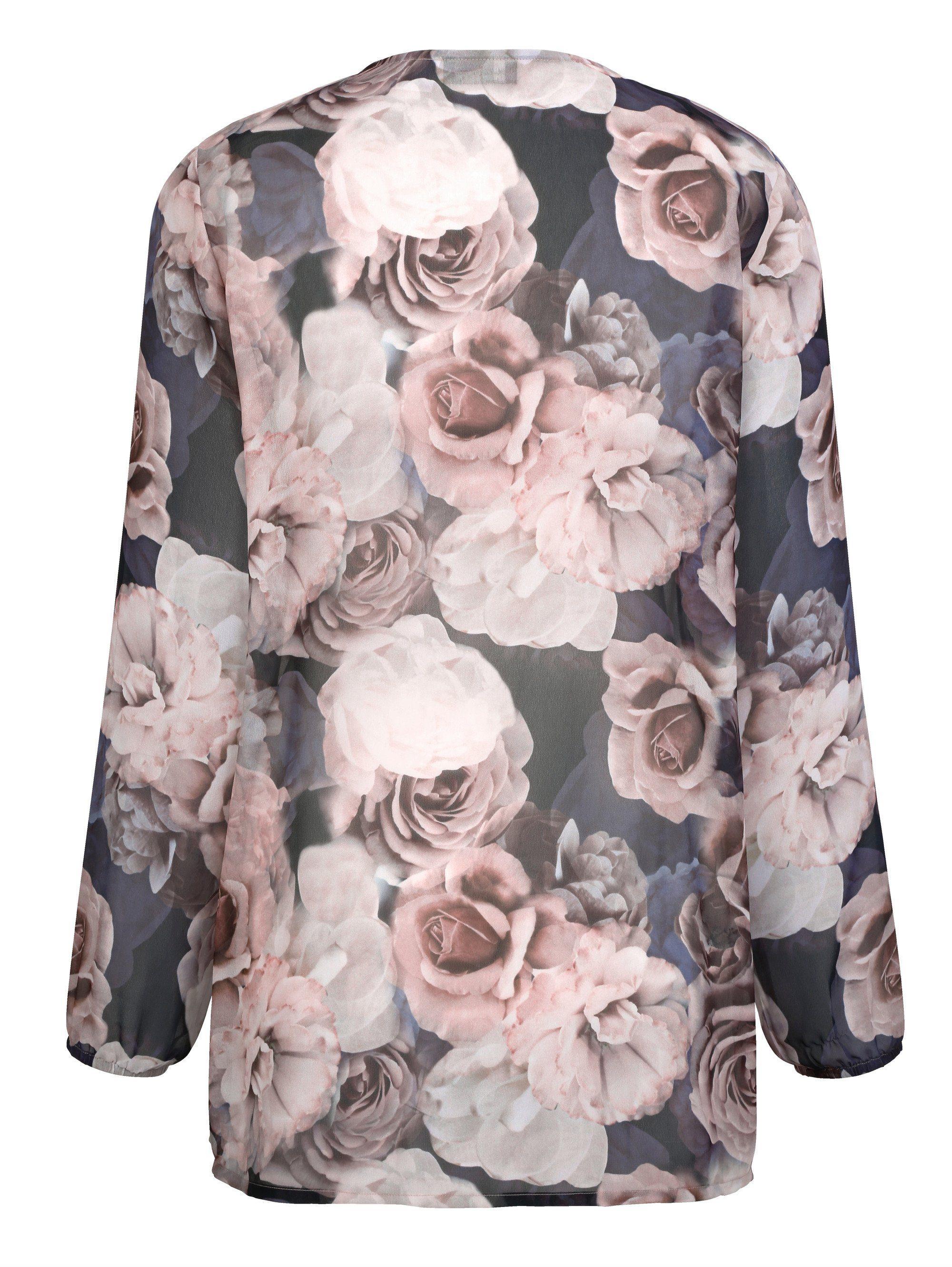 m collection Bluse rundum mit Blumenmuster