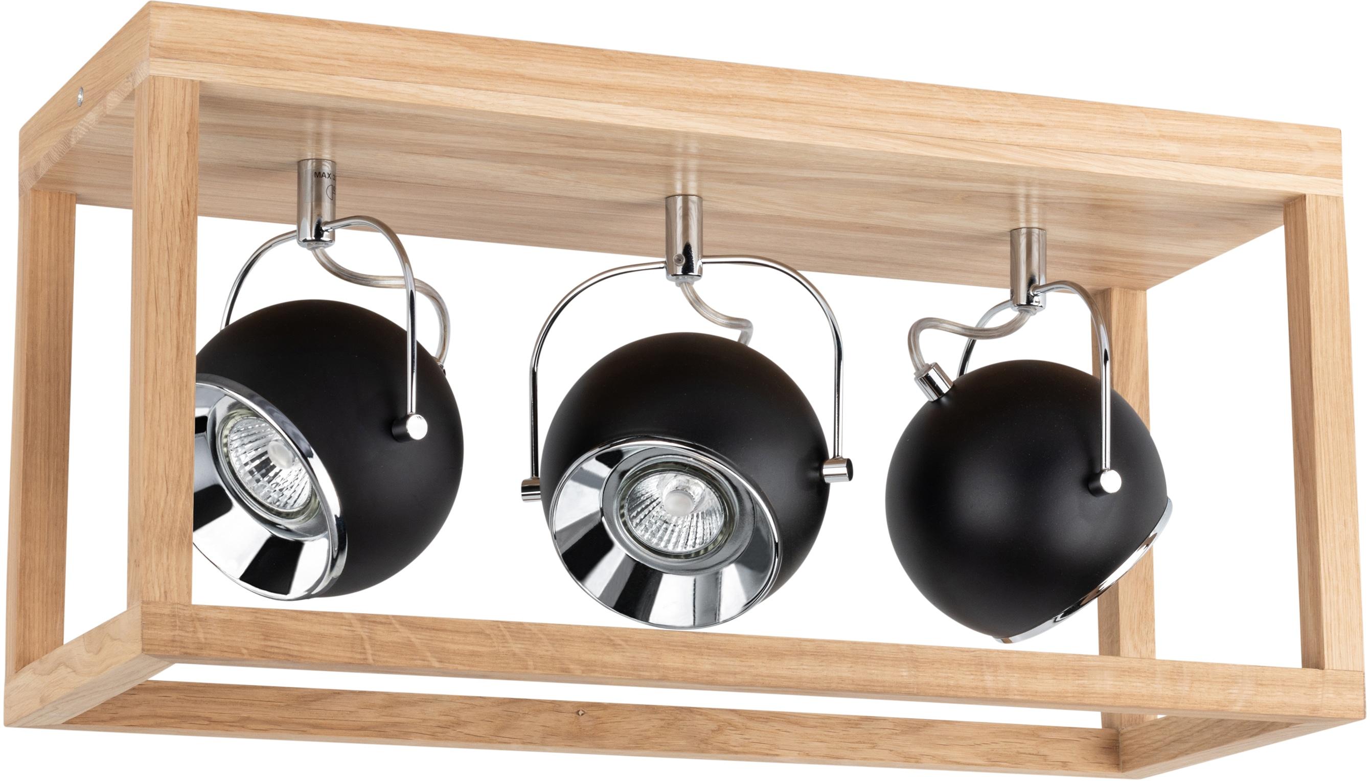 SPOT Light LED Deckenleuchte ROY, GU10, Warmweiß, Inklusive LED-Leuchtmittel, Naturprodukt aus Eichenholz, Nachhaltig mit FSC-Zertifikat, Made in EU