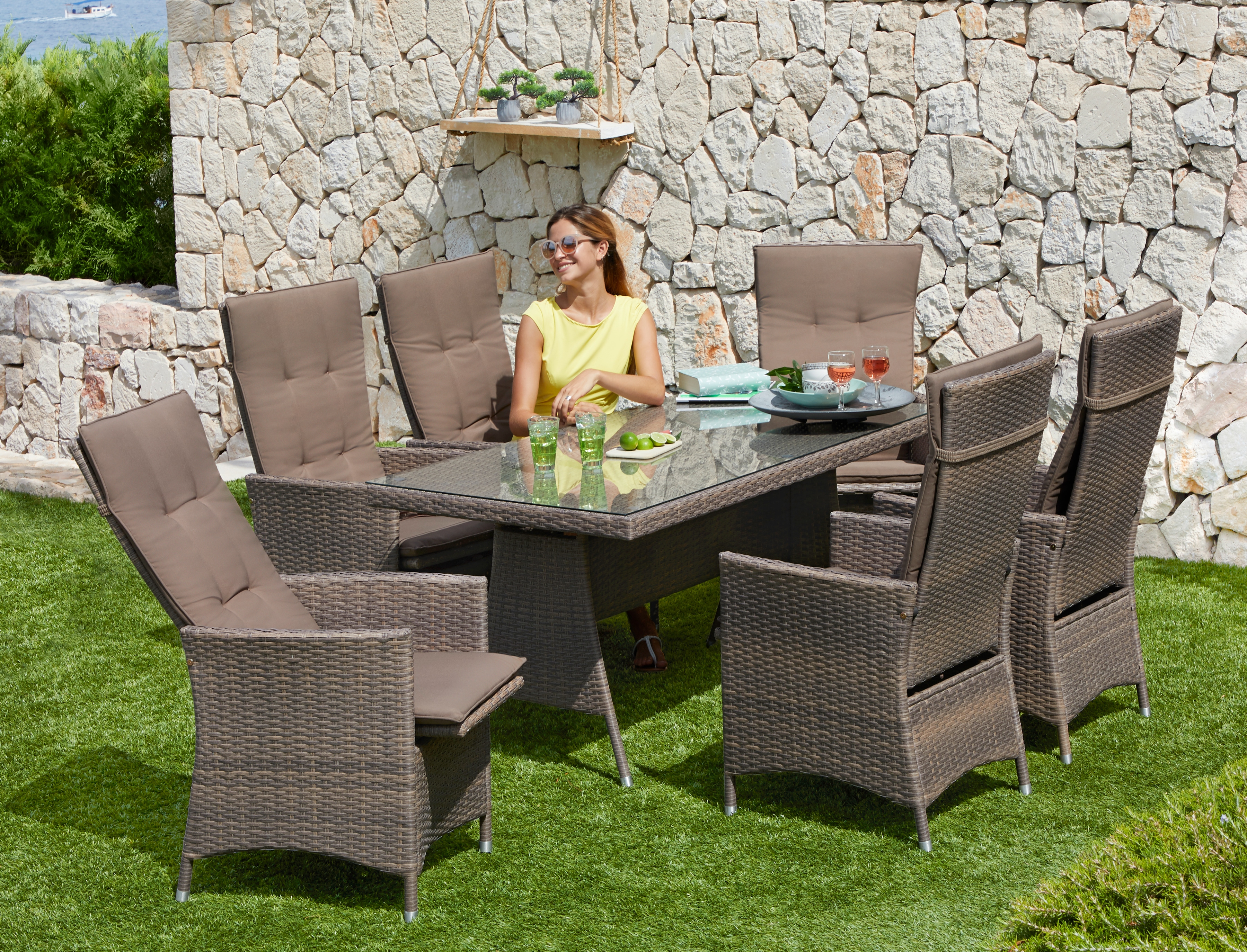MERXX Gartenmöbelset Valencia 13-tlg 6 Relaxsessel Tisch 150x80 cm Polyrattan