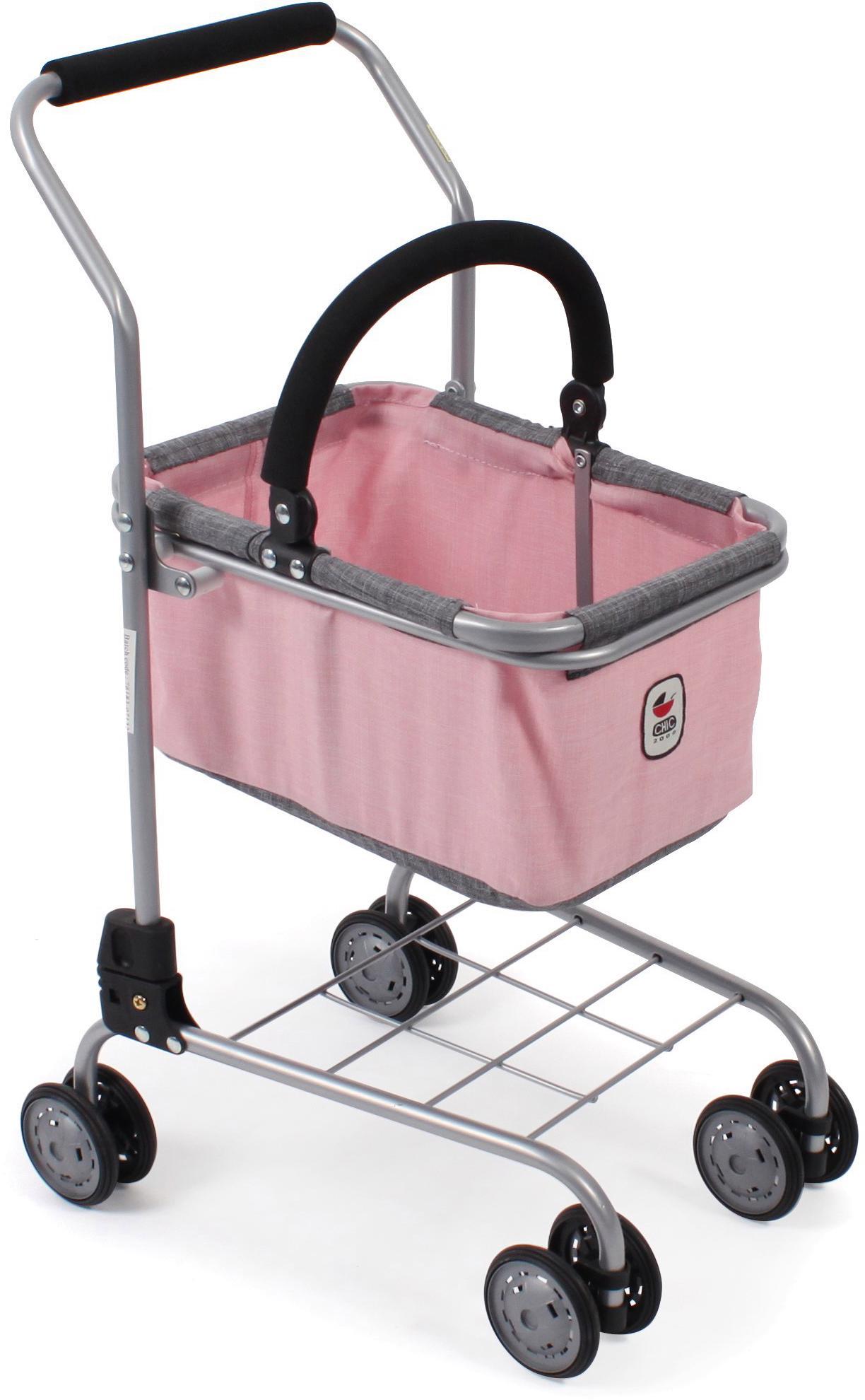 CHIC2000 Spiel-Einkaufswagen Kinder Einkaufswagen, grau-rosa rosa Kaufladen Zubehör Kinderküchen