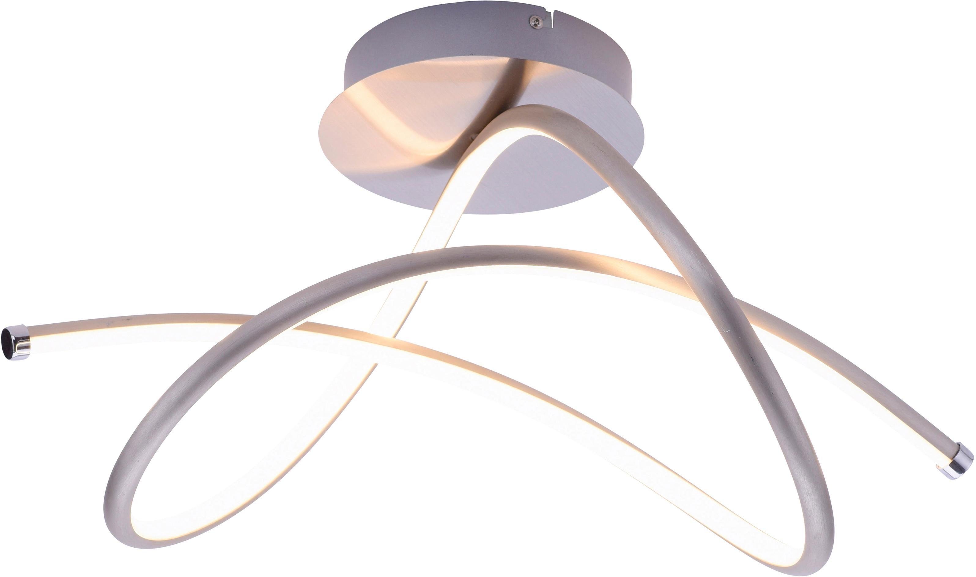 Leuchten Direkt Deckenleuchte VIOLETTA, LED-Board, Warmweiß, inklusive festverbaute LED, geschwungene aus Stahl gefertigte Deckenlampe
