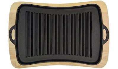 Jim Beam BBQ Grillplatte, Gusseisen, mit Holzuntersetzer, 40x43 cm kaufen