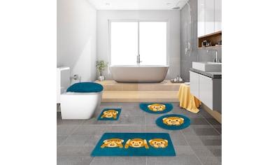 my home Badematte »Emoji«, Höhe 16 mm, rutschhemmend beschichtet, strapazierfähig, 3 Affen Design kaufen