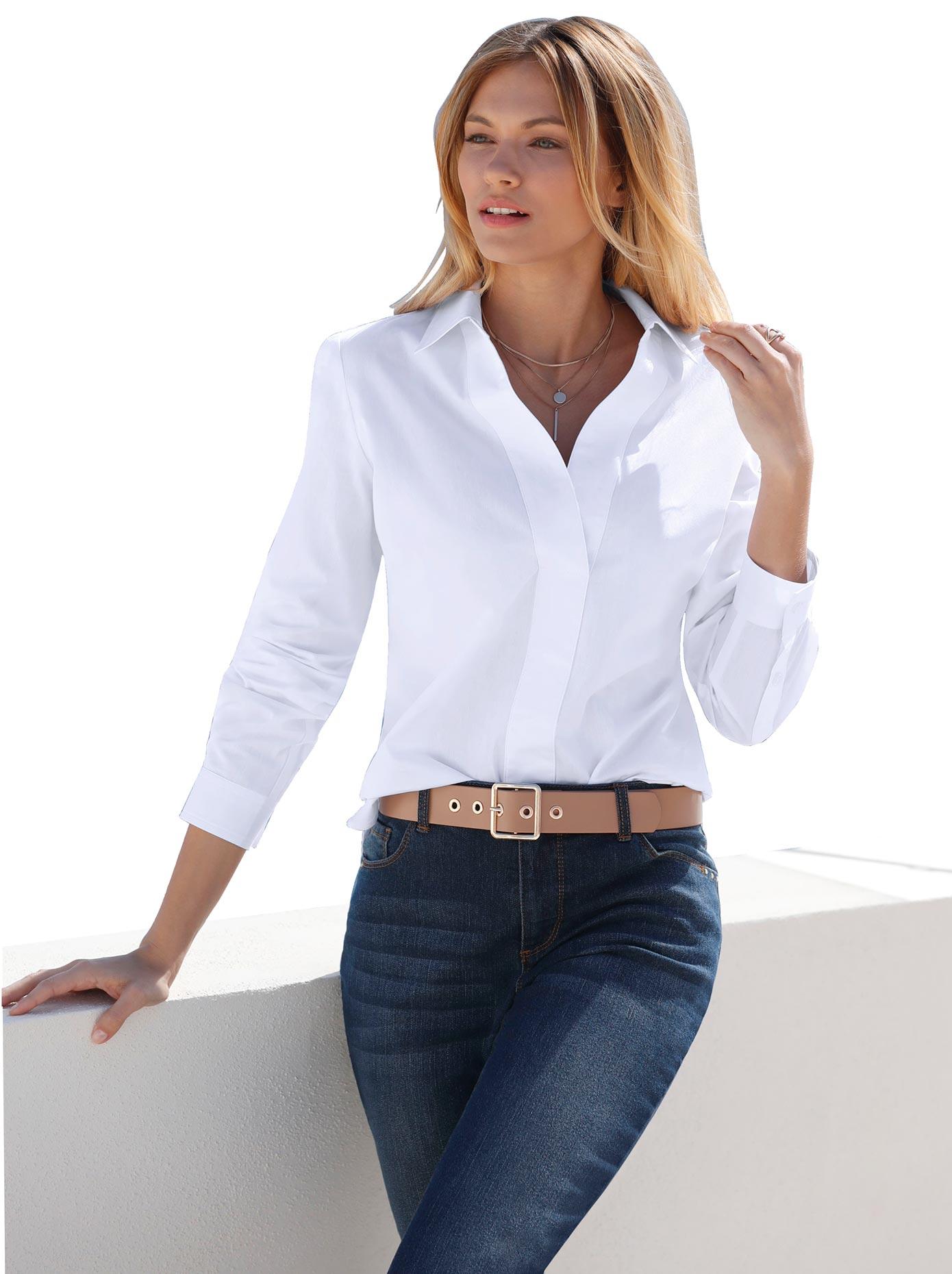 Classic Inspirationen Bluse mit breiter Blende