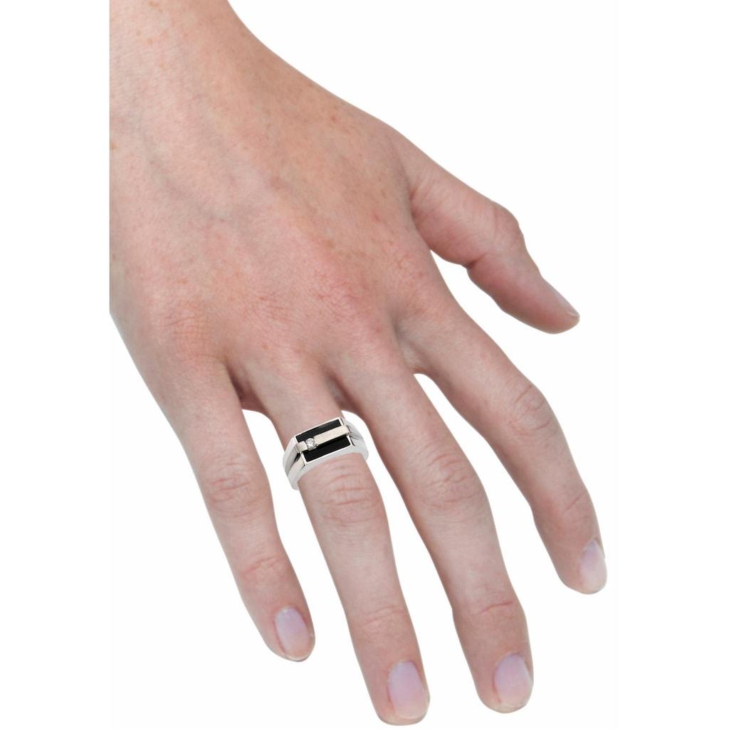 Firetti Silberring »Ringkopf in eckiger Form und matt/glanz Optik«, mit Onyx und Zirkonia