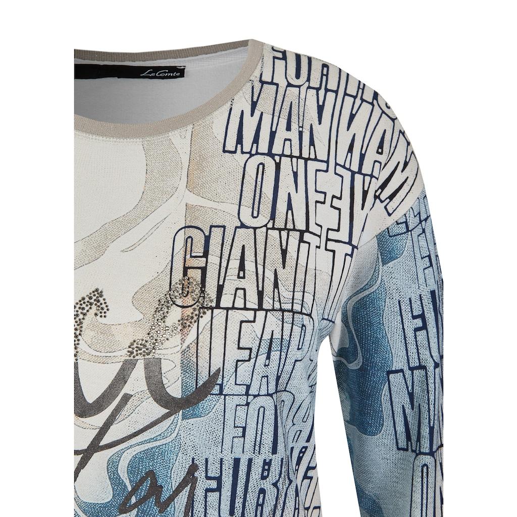 LeComte Shirt mit Front-Print und Schmucksteinen