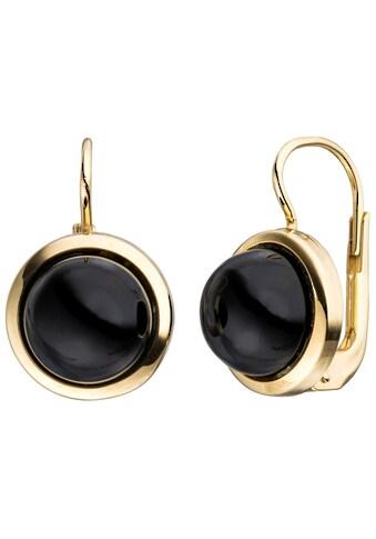 JOBO Paar Ohrhänger, rund 333 Gold mit Onyx kaufen