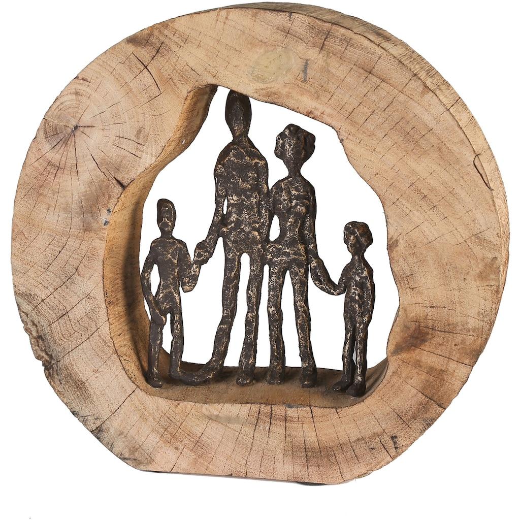 Casablanca by Gilde Dekofigur »Skulptur Familie«, Dekoobjekt, Höhe 28 cm, aus Metall und Holz-Baumscheibe, Wohnzimmer