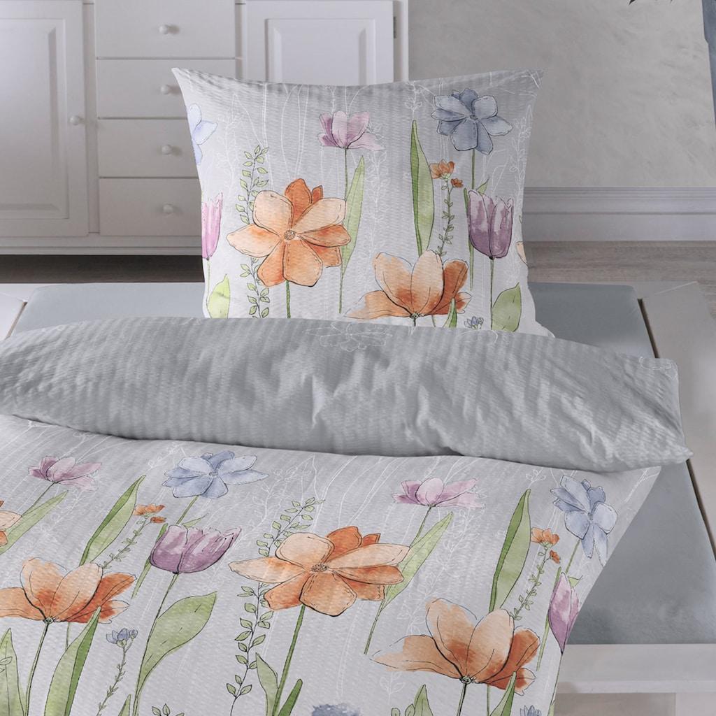 TRAUMSCHLAF Bettwäsche »Aquarell Blumen«, florale bügelfreie Sommerbettwäsche